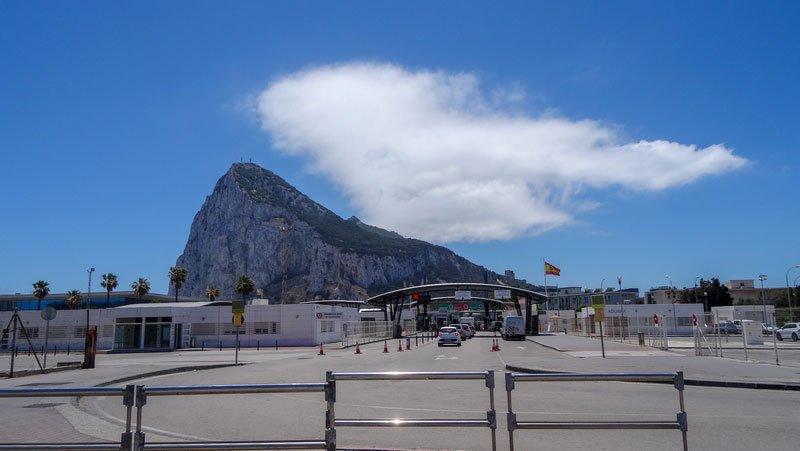 Modern days border between Gibraltar and Spain
