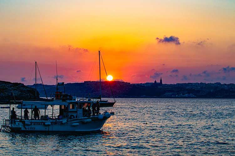 Sunset at Blue Lagoon, Comino Malta